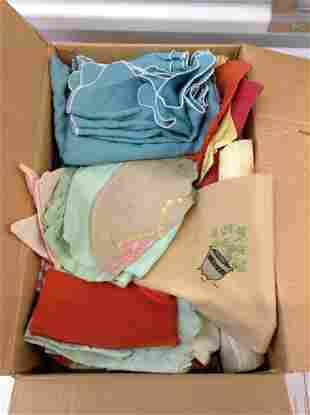 Large Box full of vintage linens