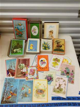 Three boxes full of Vintage Greeting Cards and Pixie