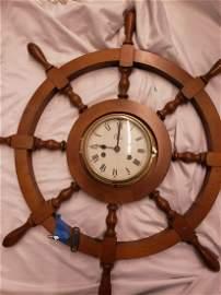 Colonial ship wheel wooden clock w/original key