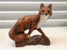 Signed Ceramic Fox statue