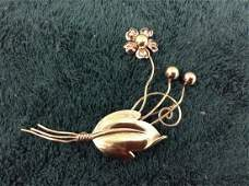 """Van Dell"" Vintage Sterling Flower Pin"