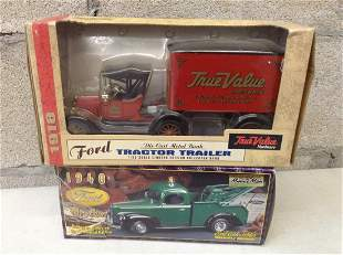 1940 Ford Wrecker and 1918 Tractor Trailer Diecast