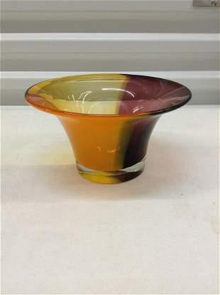 "Stunning Tri-Color Art Glass bowl  8 1/2"" across"