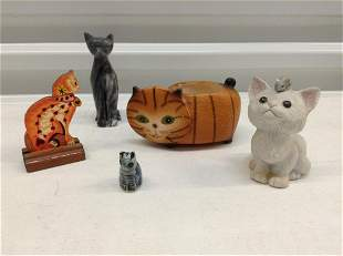 Lot of Vintage Cat Figurines - Marble and others