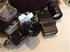 Minolta Camera with Bag, Photo Flash Equipment, and
