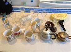 Lot of Mugs, Glasses, Teapot, and More