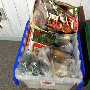 Tote full of Vintage Christmas bulbs, lights and more