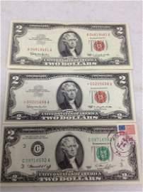 Red Seal Two Dollar Bills and Regular Two Dollar Bill