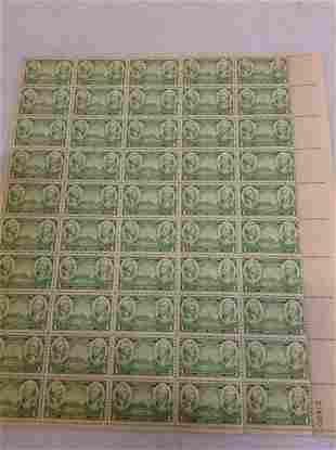 1936 1 Cent Stamp Sheet Washington Greene 50 Stamps