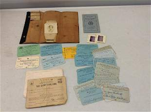 Early ephemera, War Ration Book with ration stamps, and