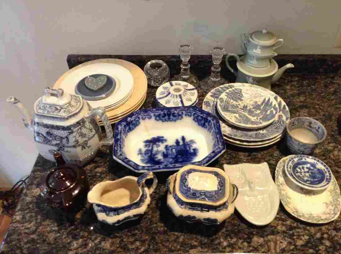 large lot of plates teapots and more