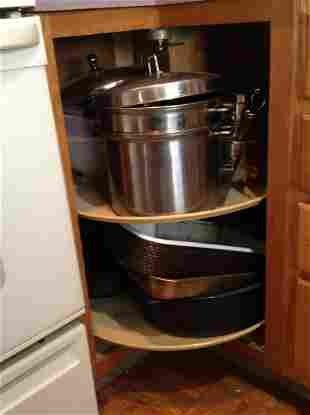 Contents of Lazy Susan Cabinet - Full of pots and more