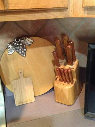 Knife Block and Wood Cutting Boards