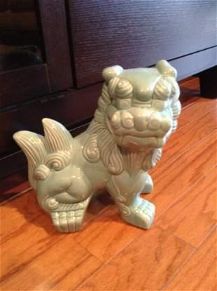 """Mint Green Foo Dog Statue 9"""" tall"""