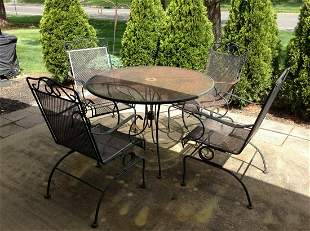 Metal Patio Set with Four Chairs