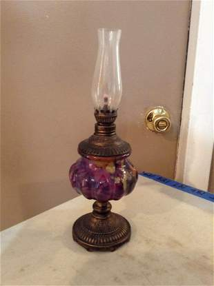 """Oil Lamp Signed at the bottom 13"""" tall"""
