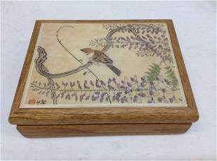"""Wood & Painted Tile Japanese Jewelry Box 7""""x5.5""""x2.5"""""""