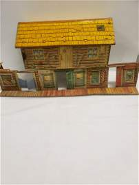 Vintage Marx tin town and house