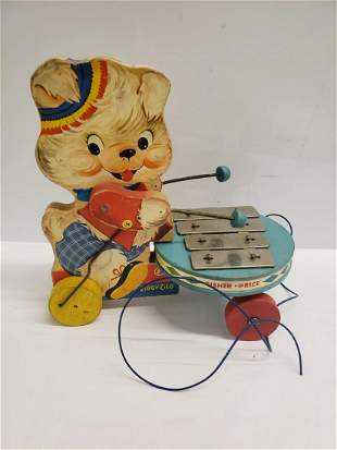 1968 Fisher Price Teddy Bear Drum Majorette pull toy