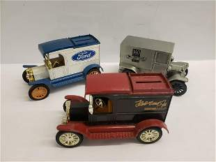 3 Die-cast metal truck banks - Ford and more