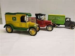 3 Die-cast metal truck banks - John Deere and more