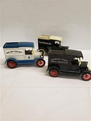 3 Die-cast metal car banks - Sears Roebuck, Post