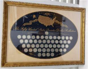 United States Framed Fifty States Dollar Collection