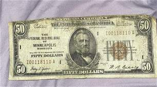 1929 I-Minneapolis $50 brown seal Federal Bank note