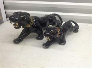 Two Mid Century Modern Panther statues largest