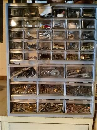 """Tool Box full of screws, bolts and more 18""""x15"""""""