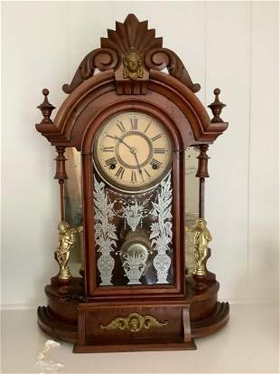 """Wood Carved Clock Circa 1860s with keys 23"""" tall"""