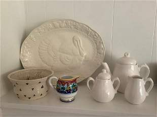 Made in Italy pitcher, Signed Pottery bowl and more