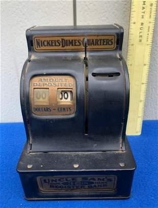 "Vintage metal Uncle Sams 3 coin Register Bank, 6"" tall"