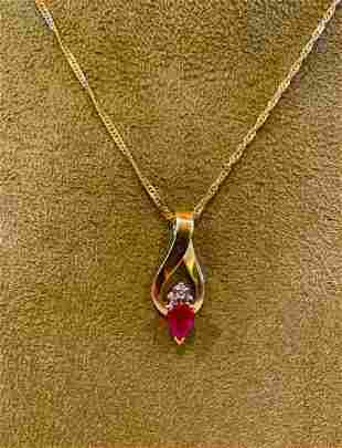 Diamond Cut 14K old Necklace with Ruby and Diaminds, wt
