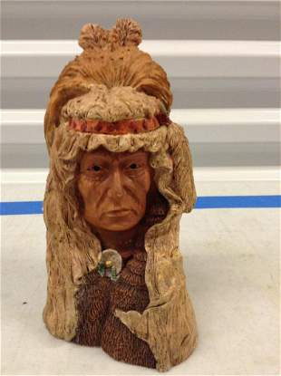 Wood Native American Statue 9 inch tall