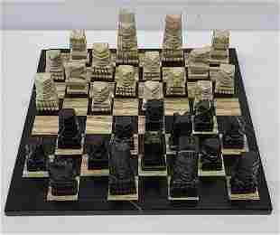 Marble Chess Board & Tiki Pieces