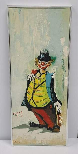 Signed Vintage Clown Painting 24x10
