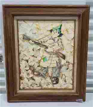 Signed Vassini Vintage Clown Painting 24x27