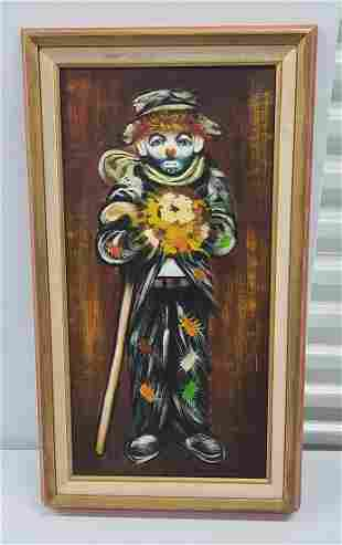 Signed R Clown Painting 28x16