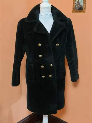 Vintage Faux Fur Coat Red Lining S