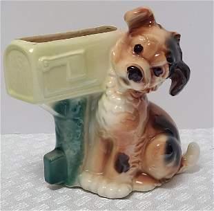 Vintage Ceramic Dog Planter 9x6