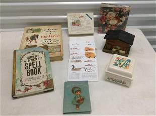 Vintage Max Factor Powder Jar, books, stationary and