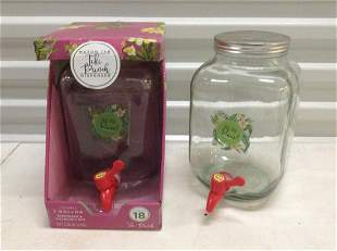 Two 1 Gallon Mason Jar Drink Dispensers one new in box