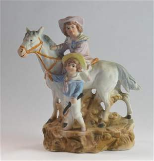 "Ceramic Children with Horse Figure 5.5"" Tall"