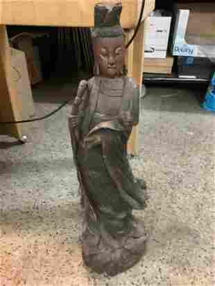 "Wood statue Kuon Xin 30"" tall"