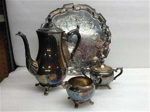 Silverplate Coffee Set with Creamer Sugar Coffepot &