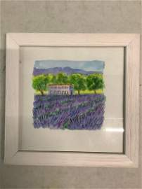 Cate Helia signed framed watercolor 8x8