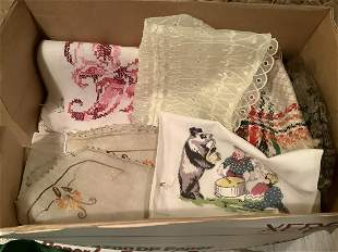 Box of Vintage Table Runners and other linens