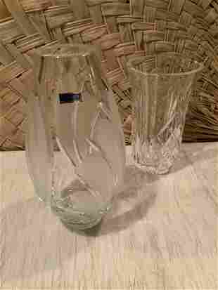 """Waterford and other Crystal Vase 10"""" tall"""