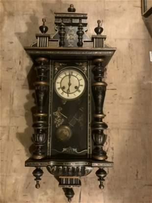 "Wood Hand Painted Clock with key & Pendulum 33"" long"